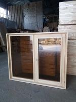 Оконный блок сосна 1000х1200х100мм темное двойное стекло
